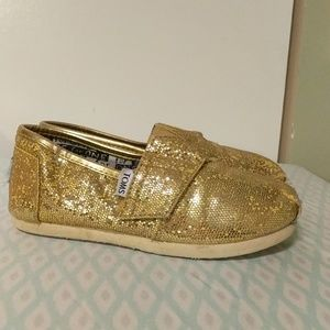 Toms yellow sparkly loafers sz 11